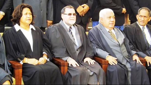 Outgoing Samoa Chief Justice Patu Falefalu Sapolu, second from right.