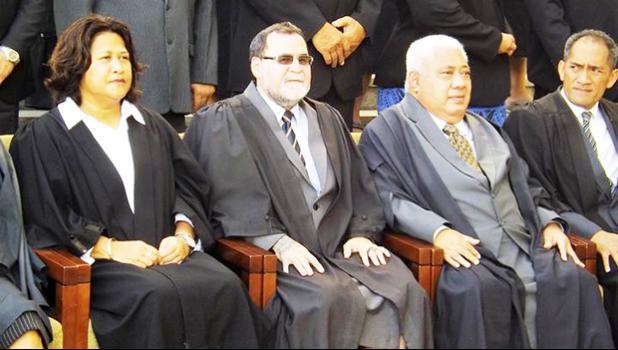 Outgoing Samoa Chief Justice Patu Falefalu Sapolu, second from right.