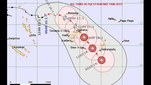 Forcast path of tropical depression