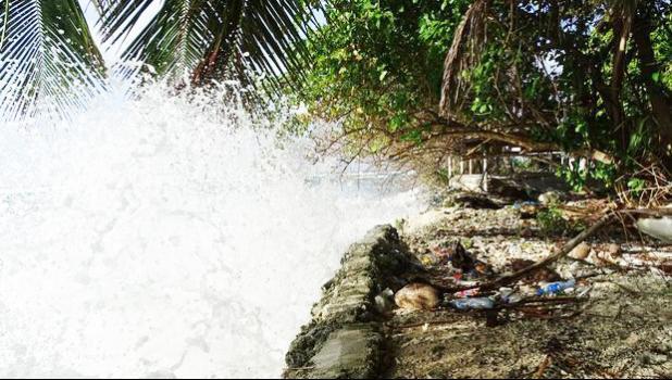 Water rising in Marshall Islands. [Photo: RNZI/Giff Johnson]