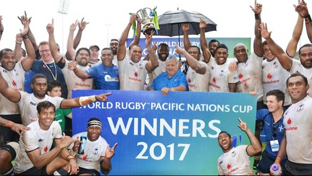 Fiji celebrate winning their third straight Pacific Nations Cup title. [Photo: Oceania Rugby]