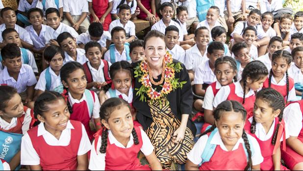 Jacinda Ardern visited Fasi Government Primary School to see the destruction caused by cyclone Gita. [Photo: Pool photo / Michael Craig / New Zealand Herald]
