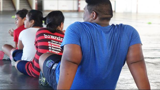 Children take part in the Nobesity Samoa program.