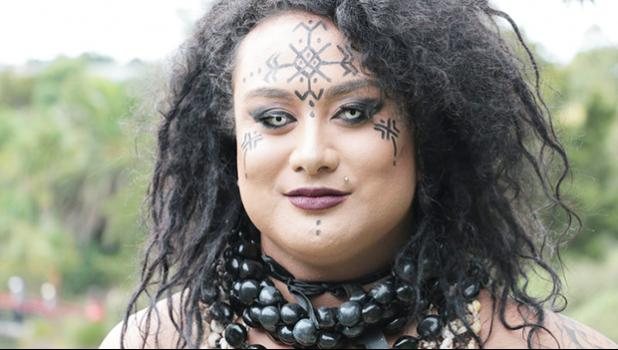Moe ,who is Samoan, says her brother made her dress for the festival.  See dress next photo. [RNZ/ Koroi Hawkins]