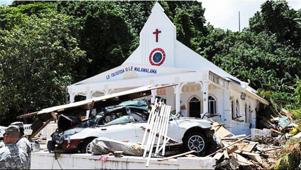 Damage from the 2009 Tsunami in Samoa [Photo: Supplied]