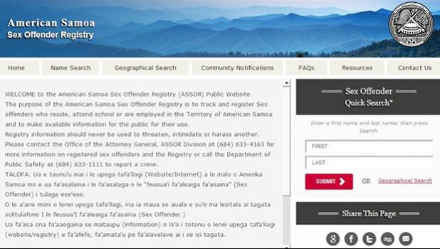 A screenshot of the registry website [Photo: americansamoa.nsopw.gov/]