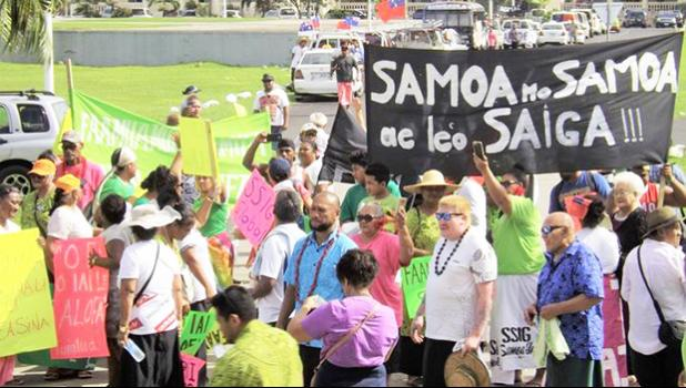 Around 100 people protesting