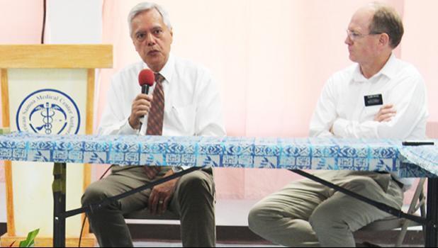 Elder Vince Haleck (left) — with Dr. Gregory Patch