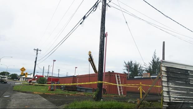 This Jan. 2017 file photo shows the area where the deadly accident took place on Saturday morning around noontime, Jan. 14, 2017. Yellow police tape encloses the area, with a fire truck and firefighters stationed on site as a precautionary measure.  [SN file photo]