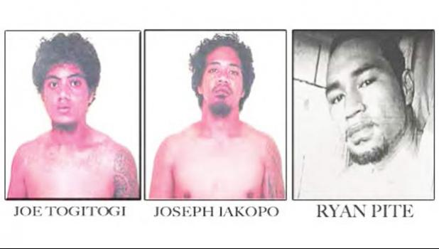 The three inmates who escaped Sunday from the Territorial Correctional Facility (TCF) and were still at large as of press time yesterday. These photos — provided by DPS — feature the escapees with their names inked on them for identification. [photos: DPS]