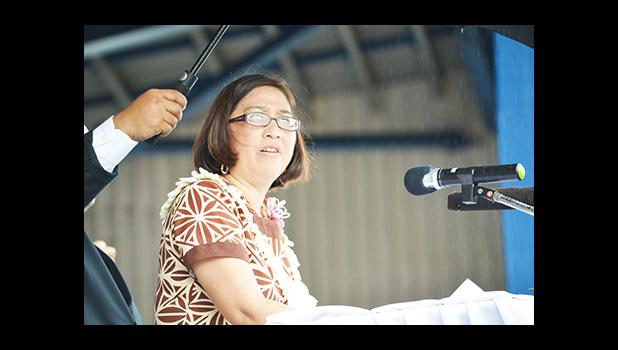 In this file photo, then-Assistant Secretary for Insular Affairs, Lupesinaosamoa Esther Kia'aina delivered the keynote address of at the 2016 Flag Day celebration