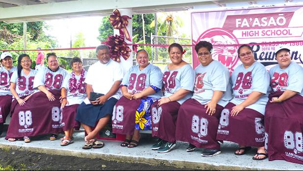 Father Kelemete Puaauli (middle wearing white shirt), surrounded by some of the graduates from Fa'asao High School Class of 1988