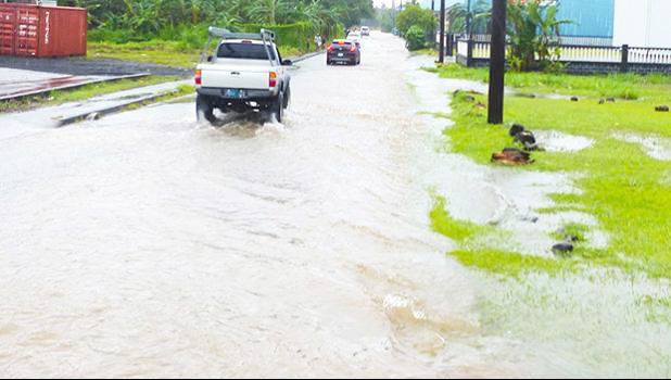 Fagaima Road flooding in 2018.