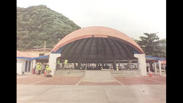 A view of the pavilion on the Fagatogo malae and the paving around it