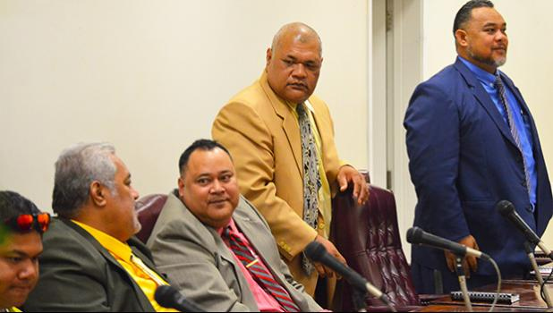 Pictured are several faipule after one the House sessions earlier this week.  [photo: AF]