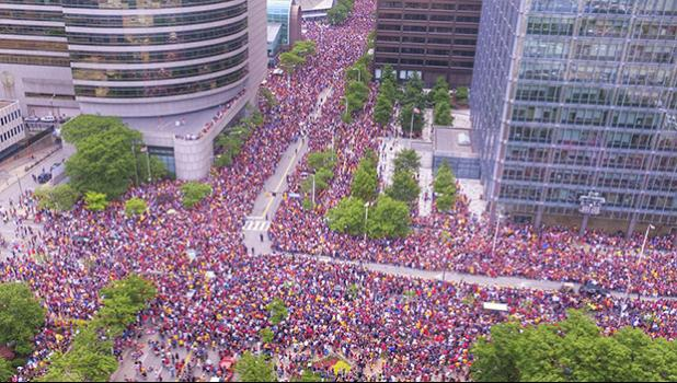 Crowd in the parade route in downtown Cleveland to celebrate the Cavaliers basketball team