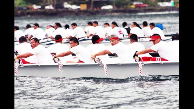 2014 Samoa News file photo of Fagasa rowers break away from the Fetu o le Afiafi and the Manulele Tausala