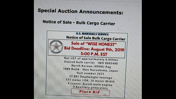 "A screenshot last Friday morning, of the US Marshal Service (USMS) website, showing a link where bidders were to submit bids for the sale of the North Korean cargo vessel, ""Wise Honest"", currently anchored in the bay area of American Samoa."
