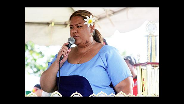 Kanana Fou elementary principal, Liza Sauni, delivers her speech during the closing ceremony of the 2016 FFAS Private Elementary Schools Soccer League at Kanana Fou on Tuesday, Nov. 22, 2016.  [FFAS MEDIA/Brian Vitolio]