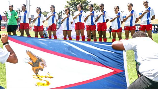 American Samoa Women's Soccer National Team singing the national anthem