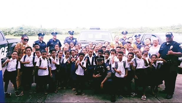 Second graders from Pavaiai Elementary School visiting the police substation in Tafuna last week