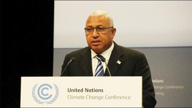 Fiji Prime Minister Frank Bainimarama addressing climate change talks consultations in Bonn, May 2017 [Photo: Supplied]