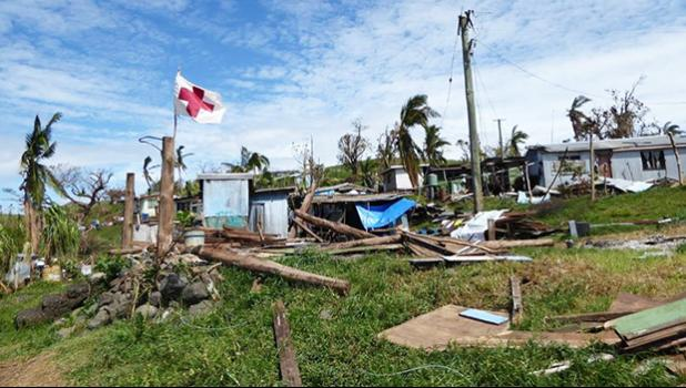 A residential area of Fiji pictured after Cyclone Winston in 2018