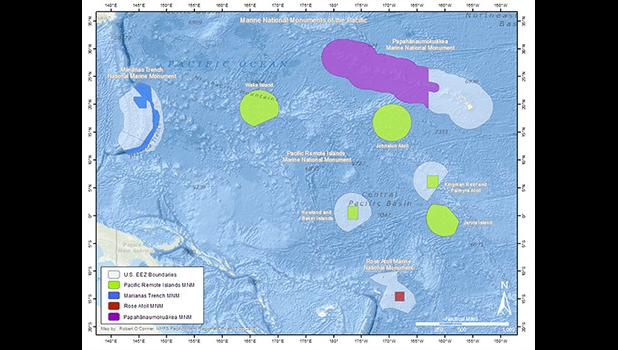 Map of Marine Nat'l Monuments of the Pacific.