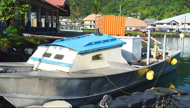 The fishing alia that drifted from Samoa and ended up in Pago Pago harbor, where it docked behind TAOA. The vessel is now in the custody of DPS Marine Patrol unit, while crew are staying in Lauli'i, awaiting travel documents to return home.  [photo by AF]