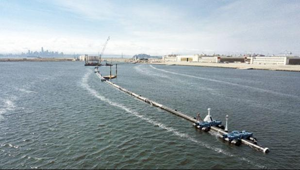 Floating boom that will be used to corral plastic litter