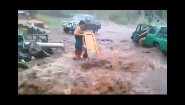 creenshot from a video on Facebook of floodwater on Savai'i.[ Photo: Facebook / Liyah Leyfy]