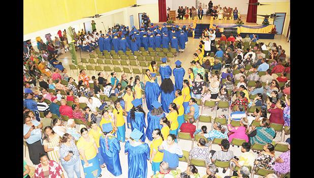 The graduating class of 2021 for Fa'asao Marist High School coming into the venue.