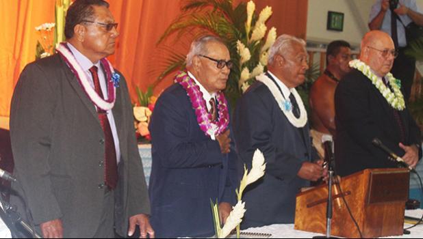 [l-r] Senate President Gaoteote Tofau Palaie, Gov. Lolo Matalasi Moliga, House Speaker Savali Talavou Ale, and Chief Justice Michael Kruse,