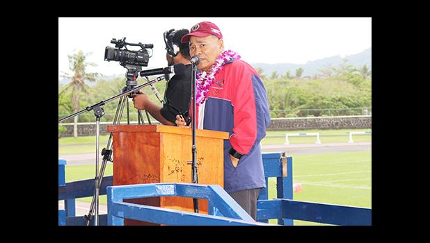 Governor Lolo Matalasi Moliga during his special remarks at the 2016-17 ASHSAA Football Season opening ceremony held at the Veterans Memorial Stadium this past Saturday morning. The governor spoke of the violence in past seasons, saying as it says in the Bible, winning is not important, it's something you focus on to improve as a competitor. [photo: TG]