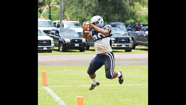 Samoana Sharks King Moe (80) securing this overtime touchdown catch