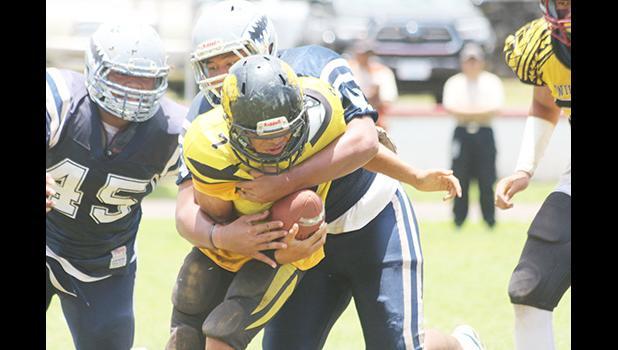 Tuala Fa'atonu of Samoana's vicious defensive front