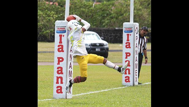 Joshua Taani securing Leone's first touchdown of the game