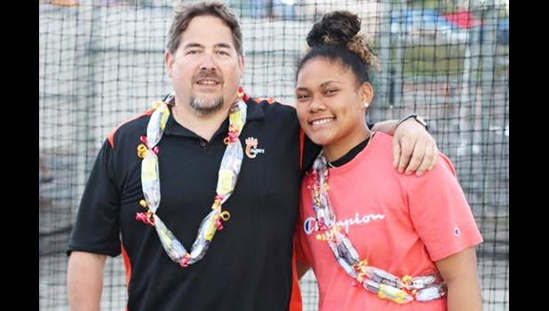 Pono pictured with her coach Bill Braun.