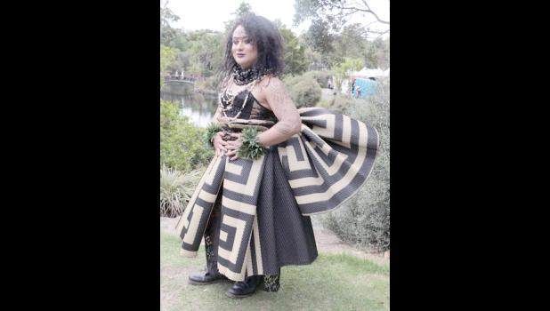 Moe ,who is Samoan, says her brother made her dress for the festival.  [RNZ/ Koroi Hawkins]