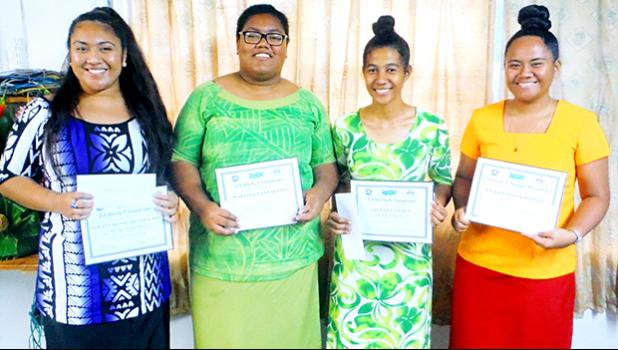 The Four Finalists In 2018 Gagana Samoa Writing Compeion Held At American Community College By Samoan Stus Insute Display Their