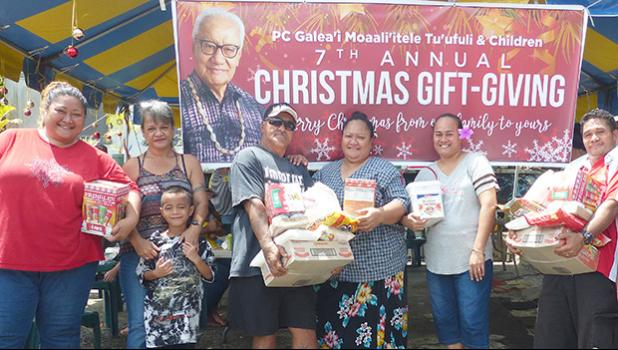 Some of the lucky people, who received gifts from the Paramount Chief Galea'i Moaali'itele Tu'ufuli & Children's 7th Annual Christmas Gift-Giving