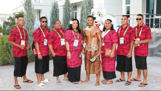 Team American Samoa along with Chef de Mission Herrietta Molesi and Press Attache Terry Auvaa before heading over to the Ashgabat Olympic Stadium for the opening ceremonies of the 5th Asian Indoor & Martial Arts Games Sunday Sept.17th, 2017 (Photo:Terry Custodio Auva'a)