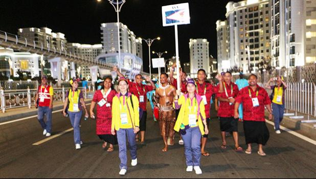 Team American Samoa as they are escorted over to the Ashgabat Olympic Stadium for the start of the Athletes' parade into the opening ceremony for the Asian Indoor & Martial Arts Games Sunday September 17th, 2017. (Photo:Terry Custodio Auva'a)