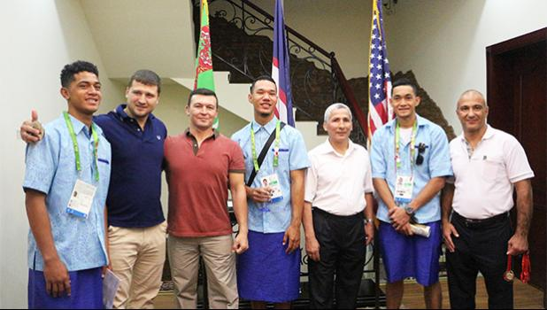 Team American Samoa with Grand Master in their respective sports who won medals. These gentlemen were happy to share their experiences with our young athletes.  (Photo:Team American Samoa)