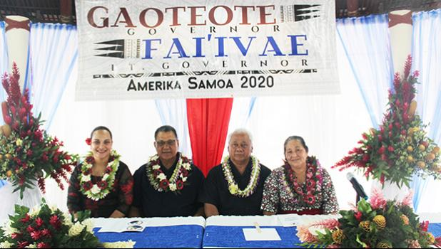 "Gaoteote & Fai'ivae"" gubernatorial team with their wives"
