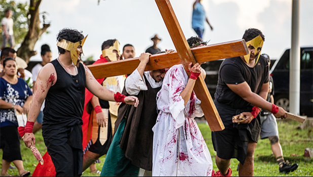 A procession of the Stations of the Cross in Apia