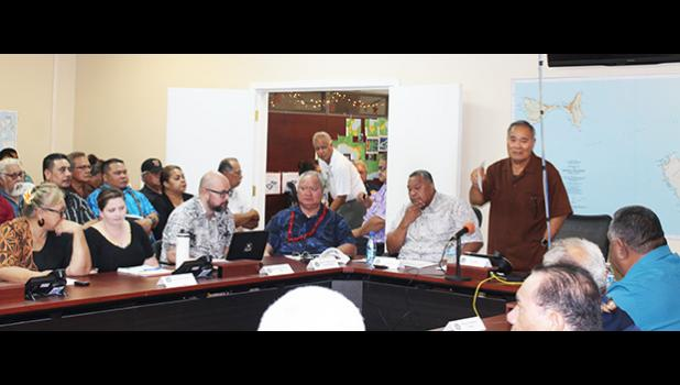 Gov. Lolo Matalasi Moliga speaking at Sunday's emergency cabinet meeting