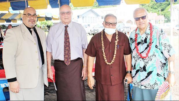 [l-r] Rev. Iasepi Ulu of CCCAS Fagatogo, Chief Justice Michael Kruse, Gov. Lolo Matalasi Moliga and Secretary of Samoan Affairs Mauga T. Asuega