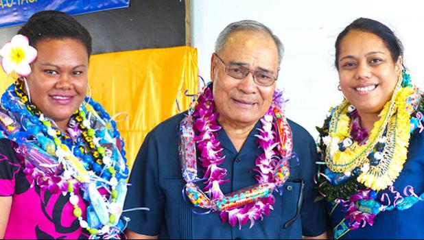 [l-r] Territorial Teacher of the Year, Rosalee Tela of Nu'uuli Vocational Technical High School, Gov. Lolo Matalasi Moliga, and Education Department's Teacher of the Year, Martha Sagapolutele, principal of Manulele Tausala Elementary Schoo