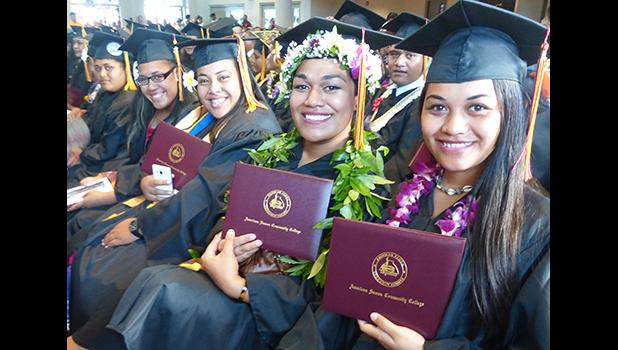 Smiling faces of some of the graduates at the American Samoa Community College's Spring 2018 graduation ceremony last Friday at the ASCC Multi Purpose Center Auditorium. [photo: Leua Aiono Frost]